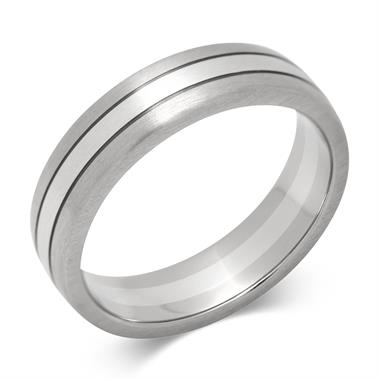 18ct White Gold and Platinum Modern Wedding Ring thumbnail