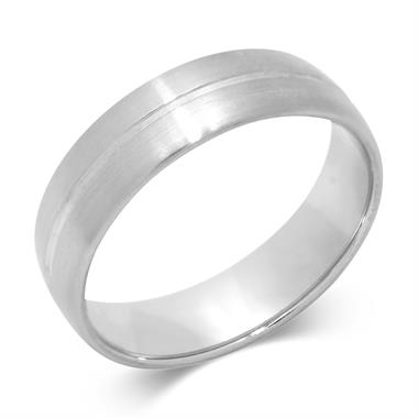 Palladium Modern Groove Flat Court Wedding Ring thumbnail