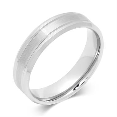 Palladium Modern Groove and Bevelle Wedding Ring thumbnail
