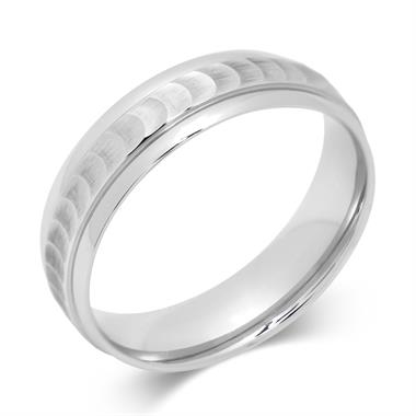 Palladium Scooped Design Wedding Ring thumbnail