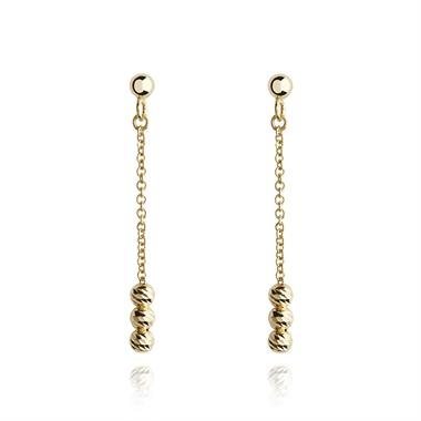 18ct Yellow Gold Faceted Bead Drop Earrings thumbnail