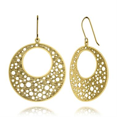 Maya 18ct Yellow Gold Disc Design Drop Earrings 20mm thumbnail