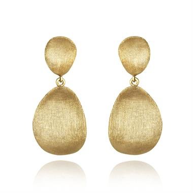 Cadence 18ct Yellow Gold Satin Finish Drop Earrings thumbnail