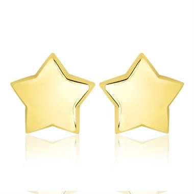 18ct Yellow Gold Large Star Stud Earrings thumbnail