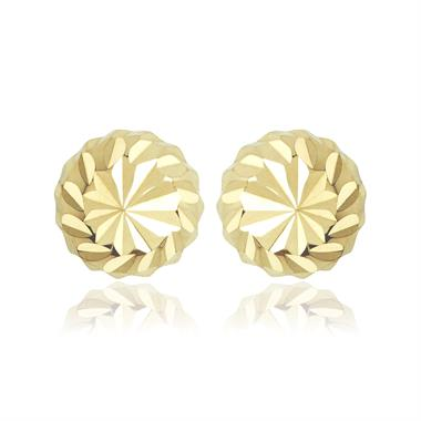18ct Yellow Gold Faceted Ball Stud Earrings thumbnail