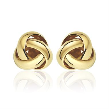 Echo 18ct Yellow Gold Knot Design Stud Earrings 9mm thumbnail