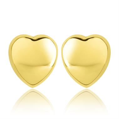 18ct Yellow Gold Medium Heart Stud Earrings thumbnail