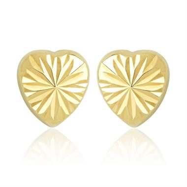 18ct Yellow Gold Faceted Heart Stud Earrings thumbnail