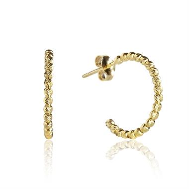 18ct Yellow Gold Faceted Semi Hoop Earrings 14mm thumbnail