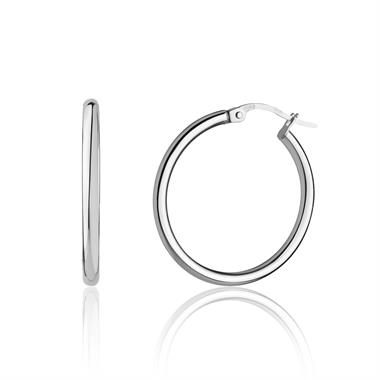 18ct White Gold Hoop Earrings 24mm thumbnail