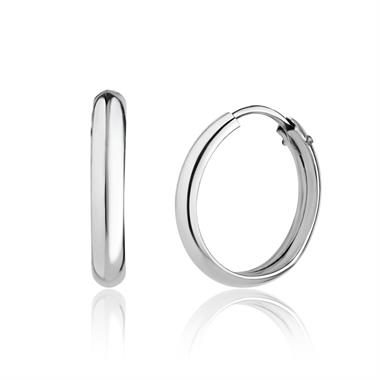 18ct White Gold D-Shape Hoop Earrings thumbnail