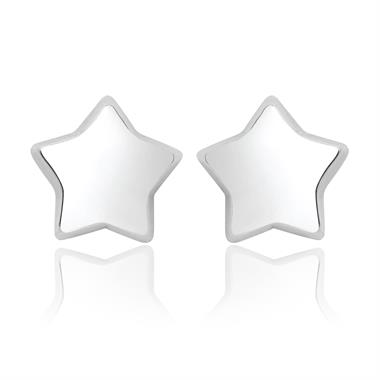 18ct White Gold Large Star Stud Earrings thumbnail