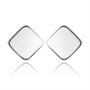 18ct White Gold Square Stud Earrings thumbnail