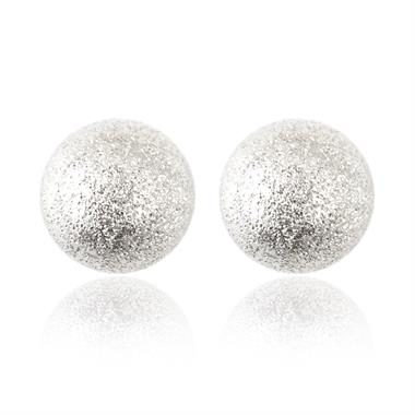 18ct White Gold Shimmer Finish Ball Stud Earrings 5mm thumbnail
