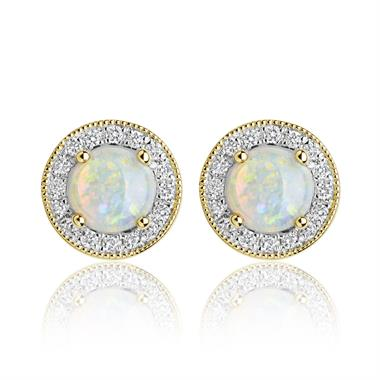 18ct Yellow Gold Opal and Diamond Cluster Stud Earrings  thumbnail