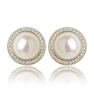 18ct Yellow Gold Pearl and Diamond Halo Earrings thumbnail