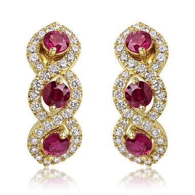 Oriana 18ct Yellow Gold Ruby and Diamond Semi Hoop Earrings thumbnail