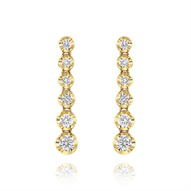 18ct Yellow Gold Graduated Diamond Drop Earrings thumbnail