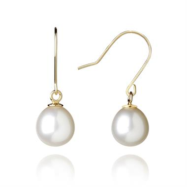 18ct Yellow Gold Freshwater Pearl Drop Earrings thumbnail