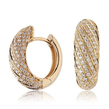Aira 18ct Yellow Gold Diamond Hoop Earrings thumbnail