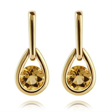 18ct Yellow Gold Citrine Drop Earrings thumbnail