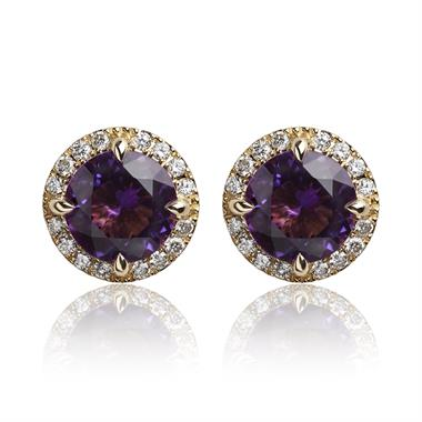 Camellia 18ct Yellow Gold Amethyst and Diamond Stud Earrings thumbnail