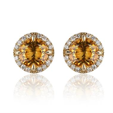 Camellia 18ct Yellow Gold Citrine and Diamond Stud Earrings thumbnail