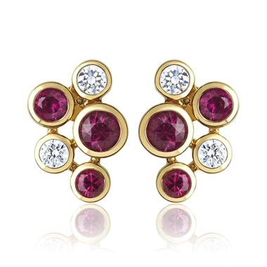 Alchemy 18ct Yellow Gold Ruby and Diamond Stud Earrings thumbnail