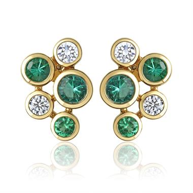 Alchemy 18ct Yellow Gold Emerald and Diamond Stud Earrings thumbnail