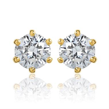 18ct Yellow Gold Six Claw 0.40ct Diamond Stud Earrings thumbnail