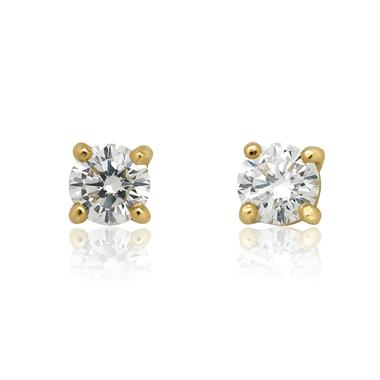 18ct Yellow Gold Diamond Solitaire Stud Earrings 0.40ct thumbnail