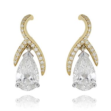 Gemini 18ct White and Yellow Gold Diamond Drop Earrings 1.47ct thumbnail