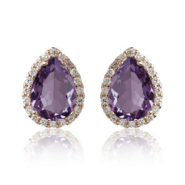 18ct Rose Gold Pear Shape Amethyst and Diamond Stud Earrings thumbnail