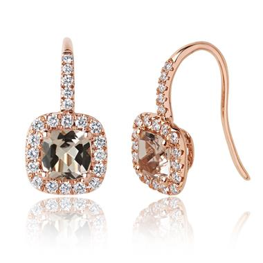 18ct Rose Gold Cushion Cut Morganite and Diamond Earrings thumbnail