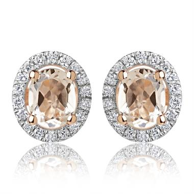 18ct Rose Gold Morganite and Diamond Halo Stud Earrings thumbnail
