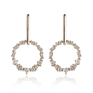 18ct Rose Gold Circle Design Diamond Drop Earrings thumbnail
