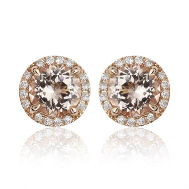 Camellia 18ct Rose Gold Morganite and Diamond Stud Earrings thumbnail
