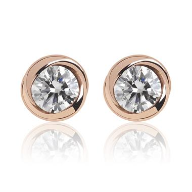 18ct Rose Gold Rosebud Diamond Stud Earrings thumbnail