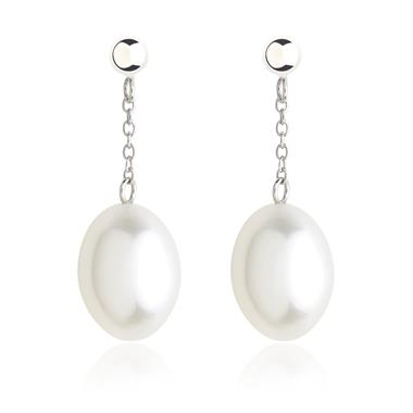 18ct White Gold White Freshwater Pearl Chain Drop Earrings thumbnail
