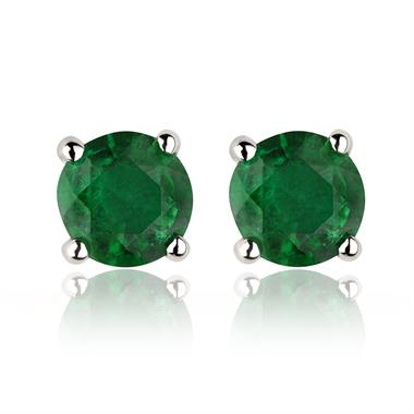 18ct White Gold Solitaire Emerald Stud Earrings thumbnail