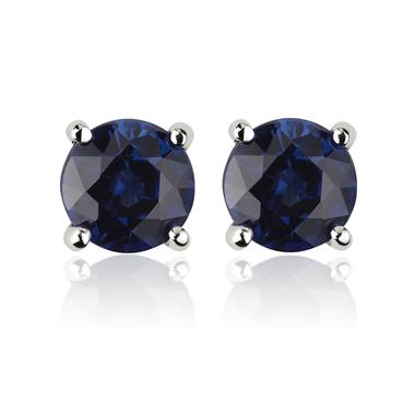 18ct White Gold Solitaire Sapphire Stud Earrings thumbnail