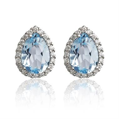 18ct White Gold Pear Shape Topaz and Diamond Stud Earrings thumbnail
