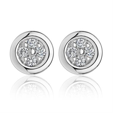 18ct White Gold Four Round Diamond Stud Earrings thumbnail