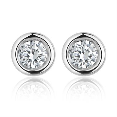 18ct White Gold Diamond Solitaire Stud Earrings 0.10ct thumbnail