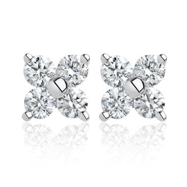 18ct White Gold Flower Diamond Stud Earrings thumbnail