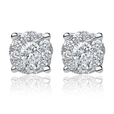 18ct White Gold Illusion Halo Diamond Stud Earrings thumbnail