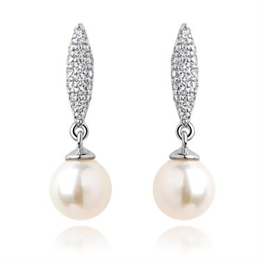 18ct White Gold Marquise Pearl and Diamond Drop Earrings thumbnail