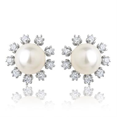 18ct White Gold Flower Freshwater Pearl and Diamond Stud Earrings thumbnail