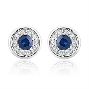 18ct White Gold Rubover Sapphire and Diamond Halo Earrings thumbnail