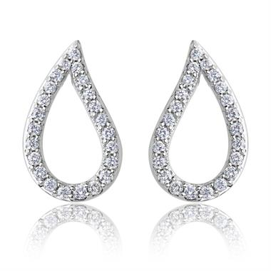 18ct White Gold Pear Shape Diamond Earrings thumbnail